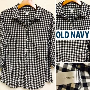 Old Navy Plaid Button-Down Cotton Collard Shirt